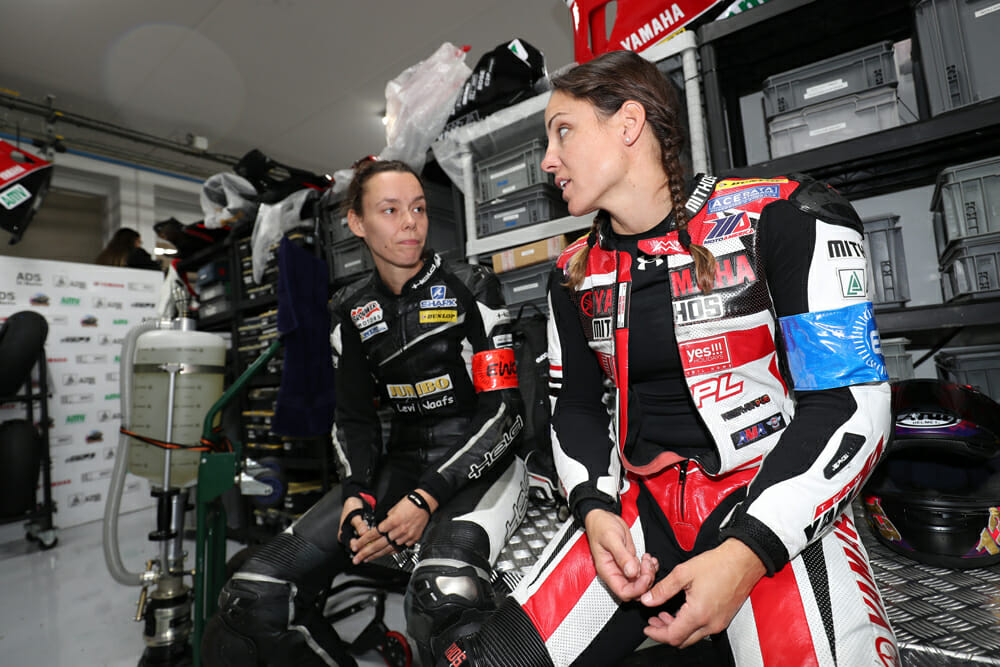 Jolanda and Melissa compare war stories in the closed-down pit lane.