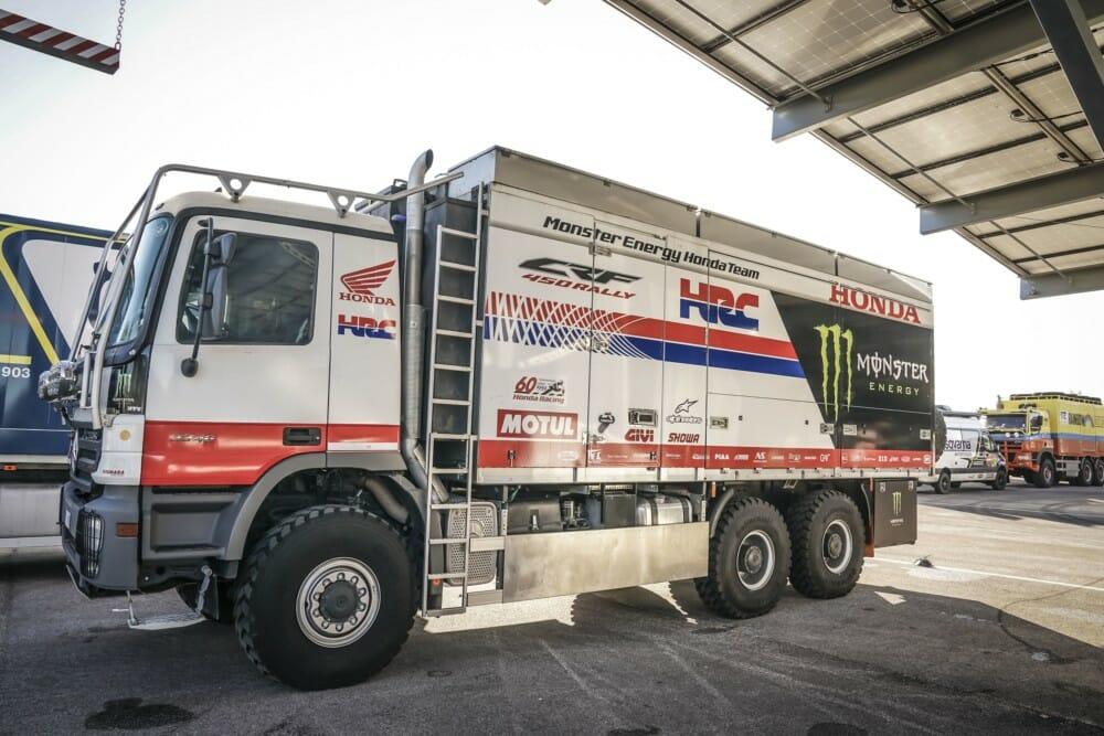 Monster Energy Honda Team Vehicles at technical scrutineering at the Paul Ricard Circuit in Le Castellet near Marseille, France, en route to the 2020 Dakar Rally.