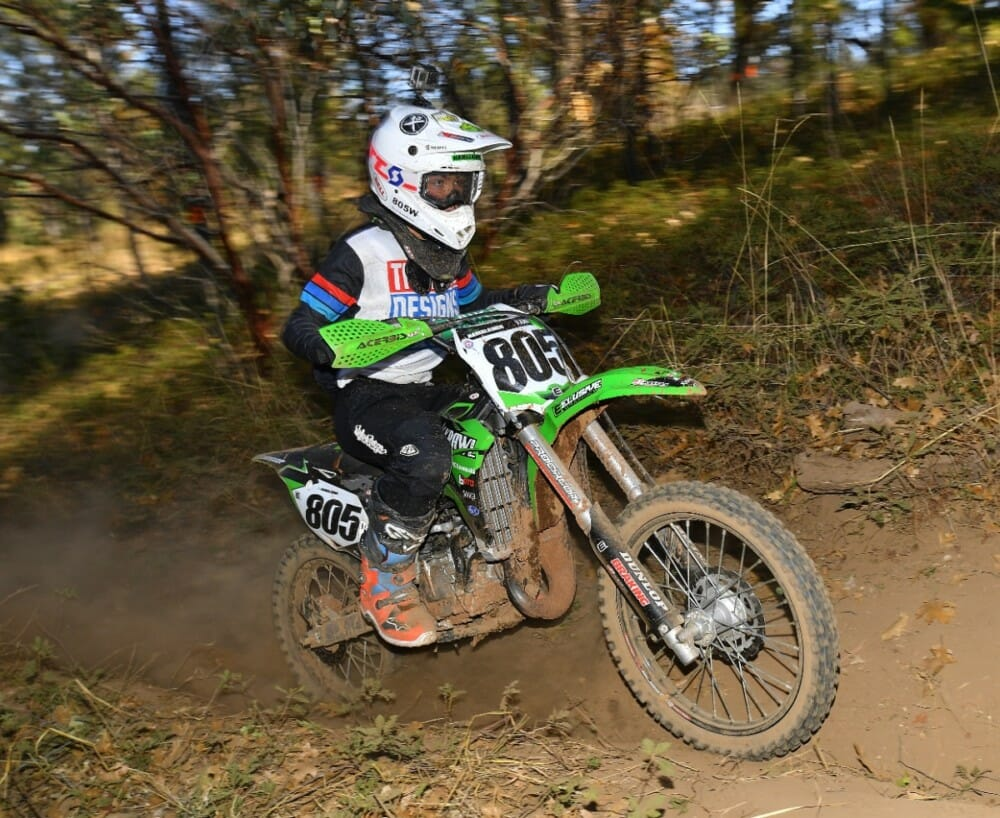 Reece Hamalainen would have an awesome race in the lead for the Jr. Mini class.
