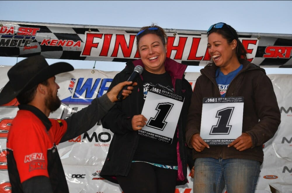 Sharon and Heather Mowell would both wrap up championship titles with the series on Sunday. Heather took home the 2019 AMA West Hare Scramble Women A Championship title while her sister, Sharon, took home the 2019 AMA West Hare Scramble Women Pro Championship title.
