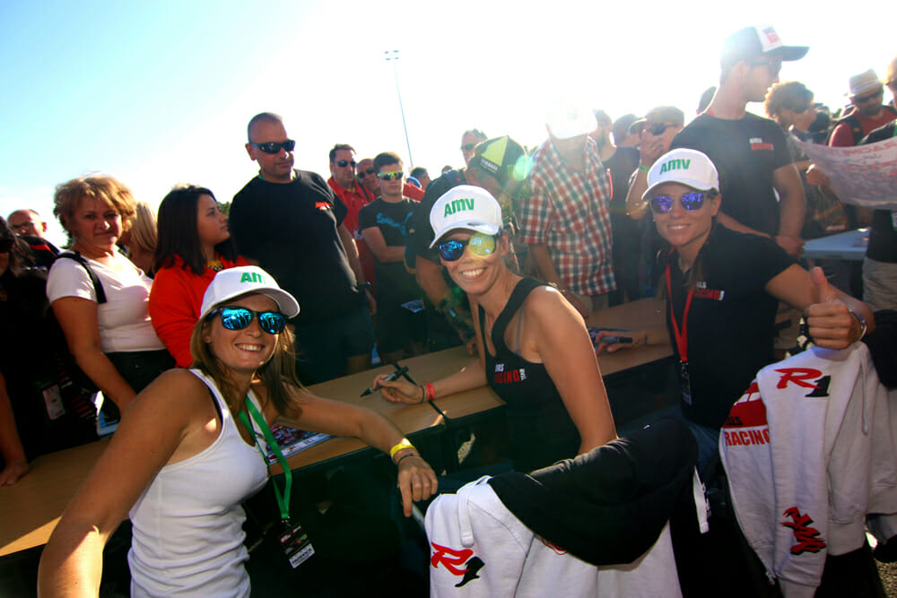 The sun is out for Melodie, Jolanda and Melissa as throngs of fans grab an autograph.