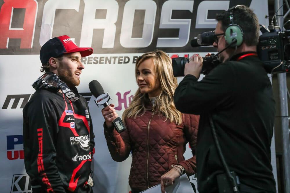 Kristen Beat interviewing Jace Owen for the AMA Kicker Arenacross Series on FS2.