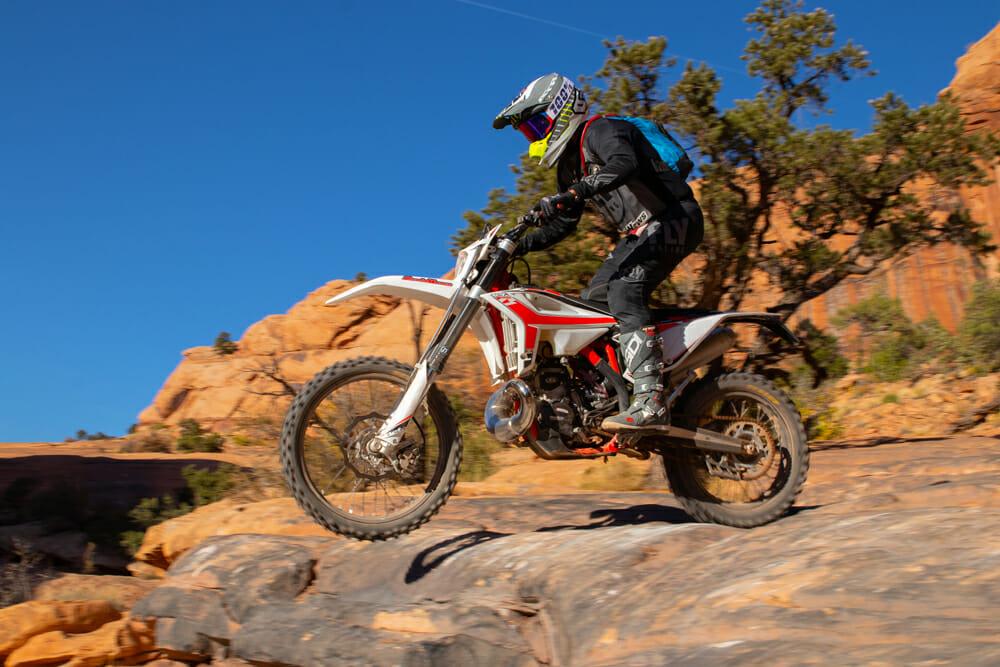 More aggressive riders will prefer the 2020 Beta 300 RR's slightly stiffer suspension.