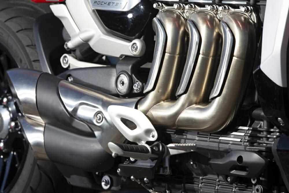 The 2458cc three-cylinder motor on the 2020 Triumph Rocket 3 GT.