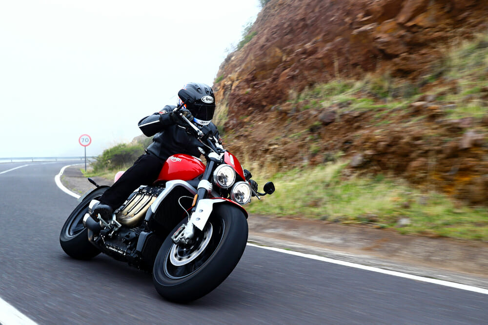 The 2020 Triumph Rocket 3 R weighs 641 pounds dry.