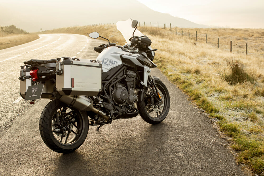 2020 Triumph Tiger 1200 Alpine with bags installed.