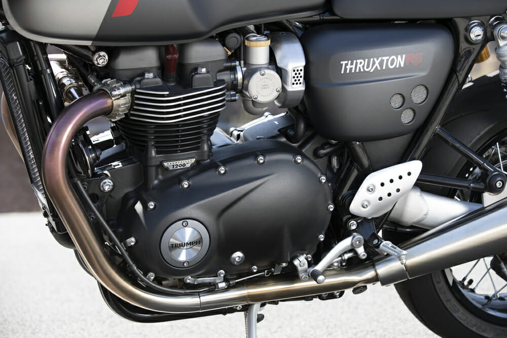The 270-degree crank motor of the 2020 Triumph Thruxton RS delivers a lovely British drawl.
