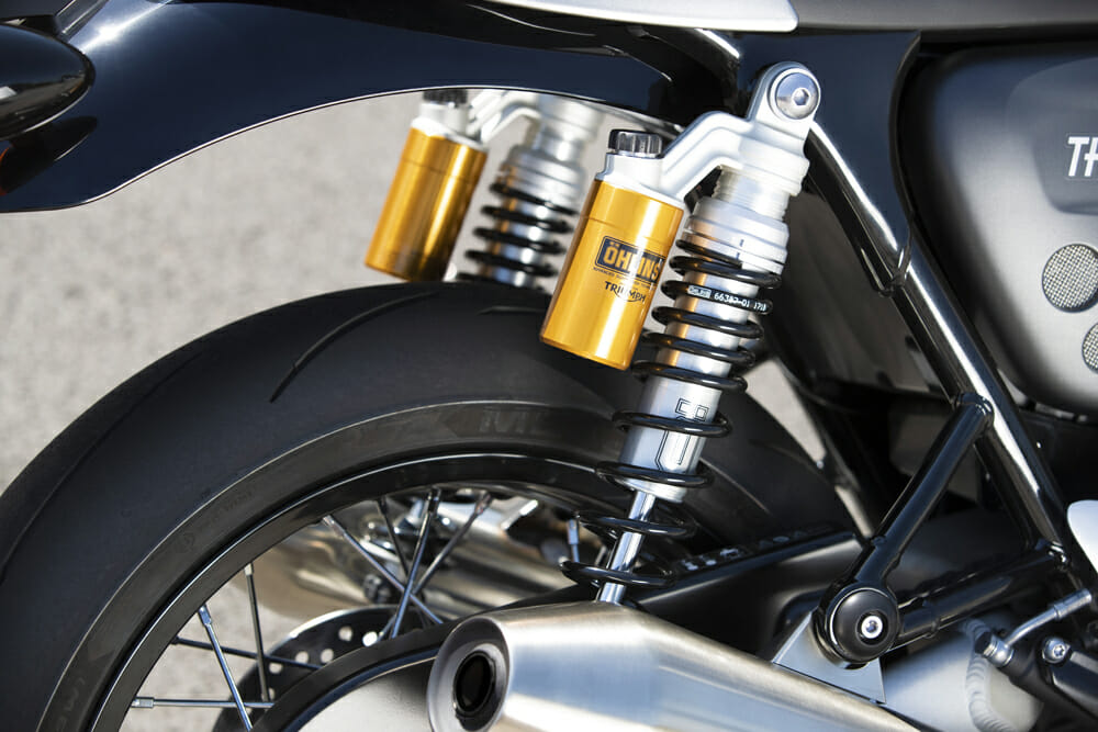 The twin shocks on the 2020 Triumph Thruxton RS.