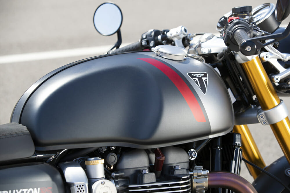 The fuel tank on the 2020 Triumph Thruxton RS.