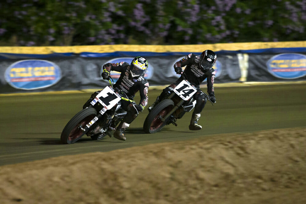 Jared Mees (1) and Briar Bronson (14) race in the AFT SuperTwins class.