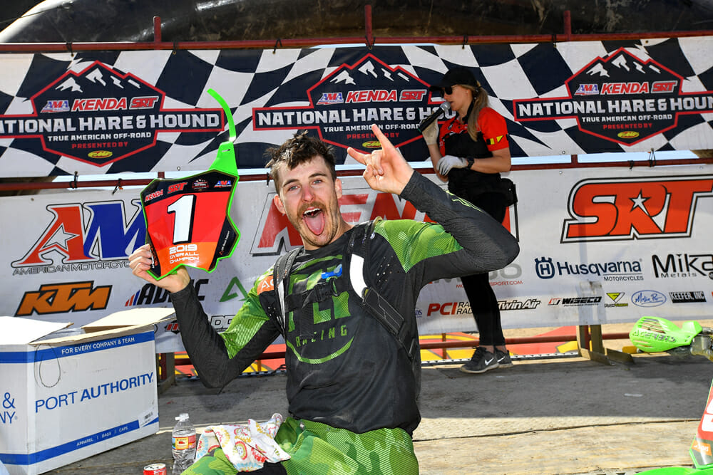 Jacob Argubright celebrates his first AMA Hare & Hound title after many years of trying.