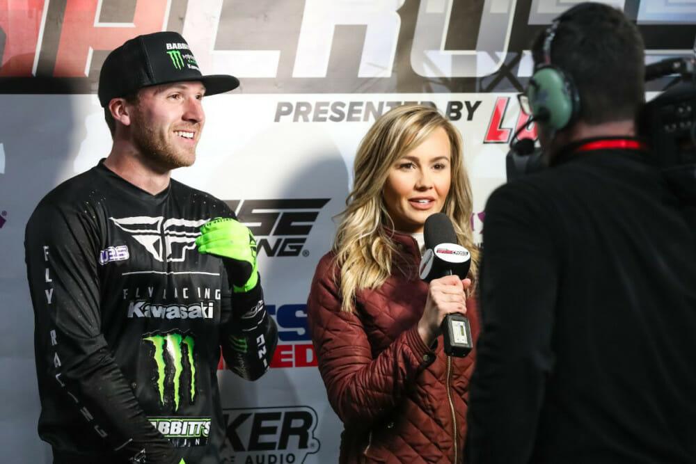 Team Babbitt's rider, Kyle Bitterman, being interviewed by FS2's Kristen Beat at 2020 Kicker Arenacross.