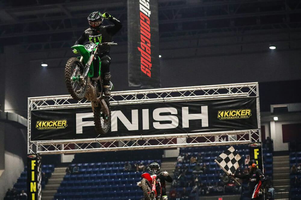 Team Babbitt's Kyle Bitterman taking second place ahead of Phoenix Racing Honda Team Rider Jace Owen in the 450 Pro Sport Main at Arenacross.