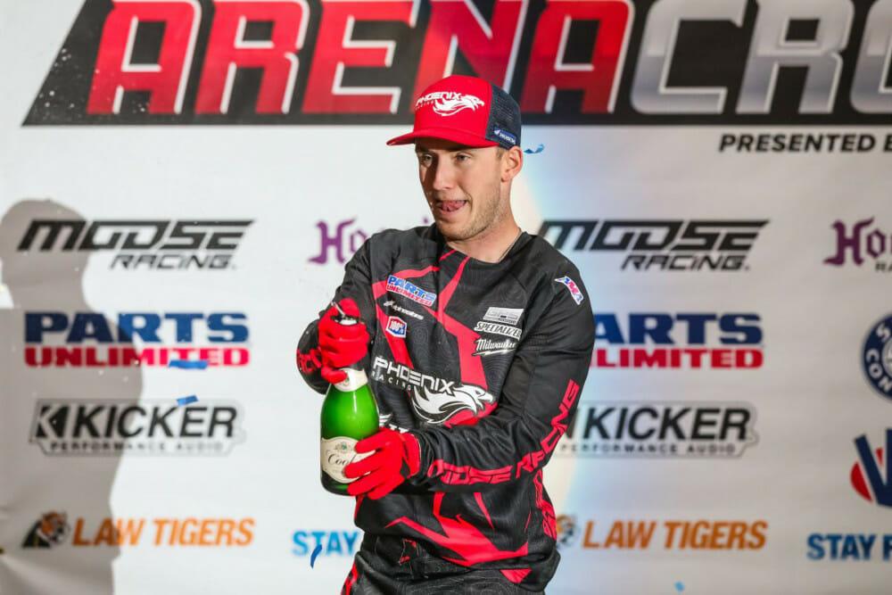 Phoenix Racing Honda Team rider, Kyle Peters, celebrating after a successful weekend in Loveland, Colorado at 2020 Kicker Arenacross.