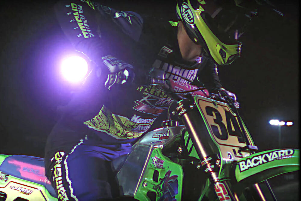 Answer Racing Trinity Pro Glo LE Racewear with Tyler Bowers on a Kawasaki KX500.