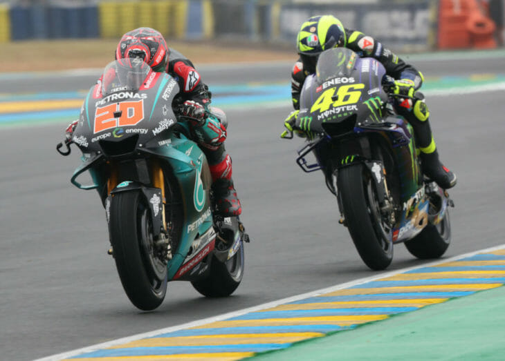 Fabio Quartararo sings for Yamaha corner Rossi