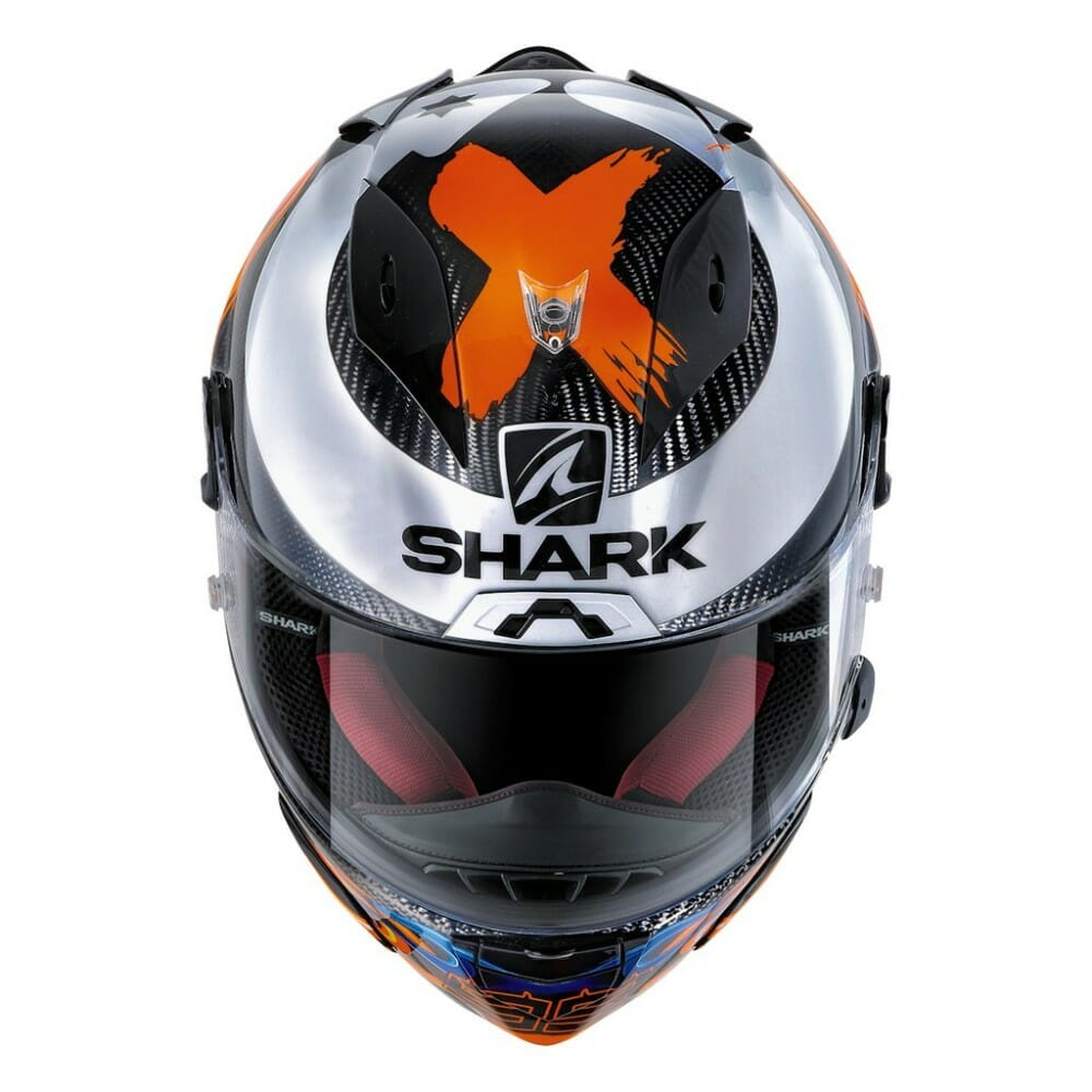 Shark has a new 2020 edition of Lorenzo Replica graphics on its high end carbon-fiber Race-R Pro Carbon helmet.