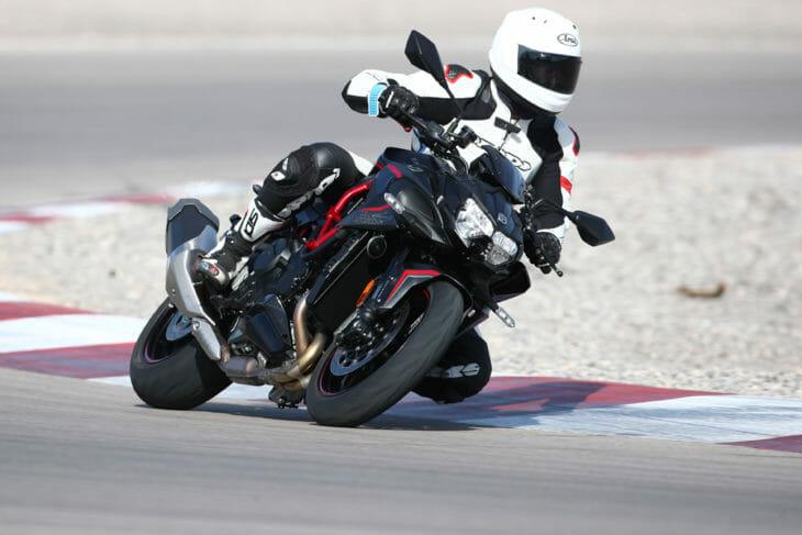 Riding the 2020 Kawasaki Z H2 at Las Vegas Motor Speedway.