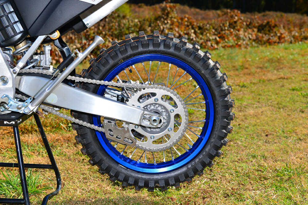 The 2020 Yamaha YZ125X has an 1-inch rear wheel.
