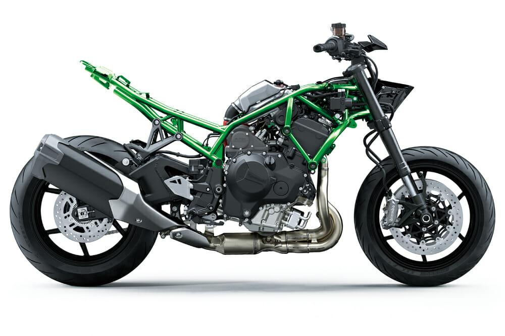 The 2020 Kawasaki Z H2 trellis frame is all new.