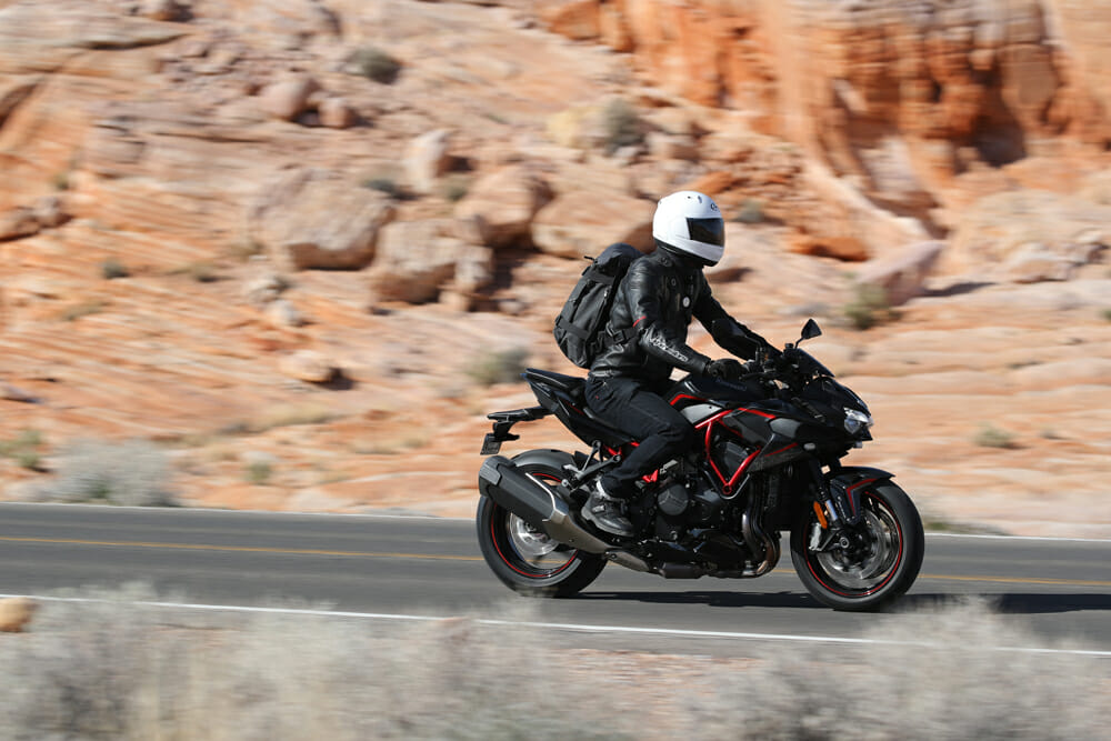 When you're not fighting off 150+ mph windblast, the Kawasaki Z H2 is quite comfortable.