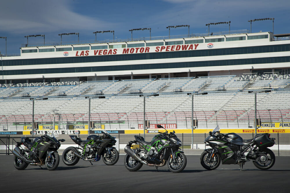 The Z H2 (center) joins the H2, H2R and H2 SX SE in Kawasaki's family of supercharged motorcycles.