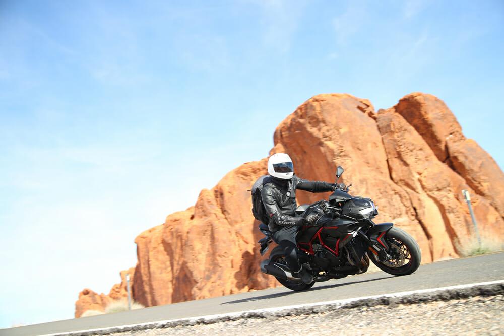 Riding the 2020 Kawasaki Z H2 on the backroads.