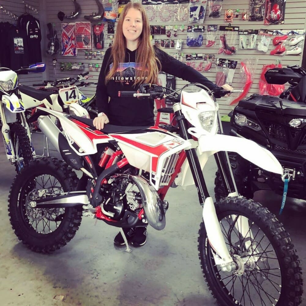 Amber AuBain scored a 6th place in the Women's Amateur Class on her Beta 200rr