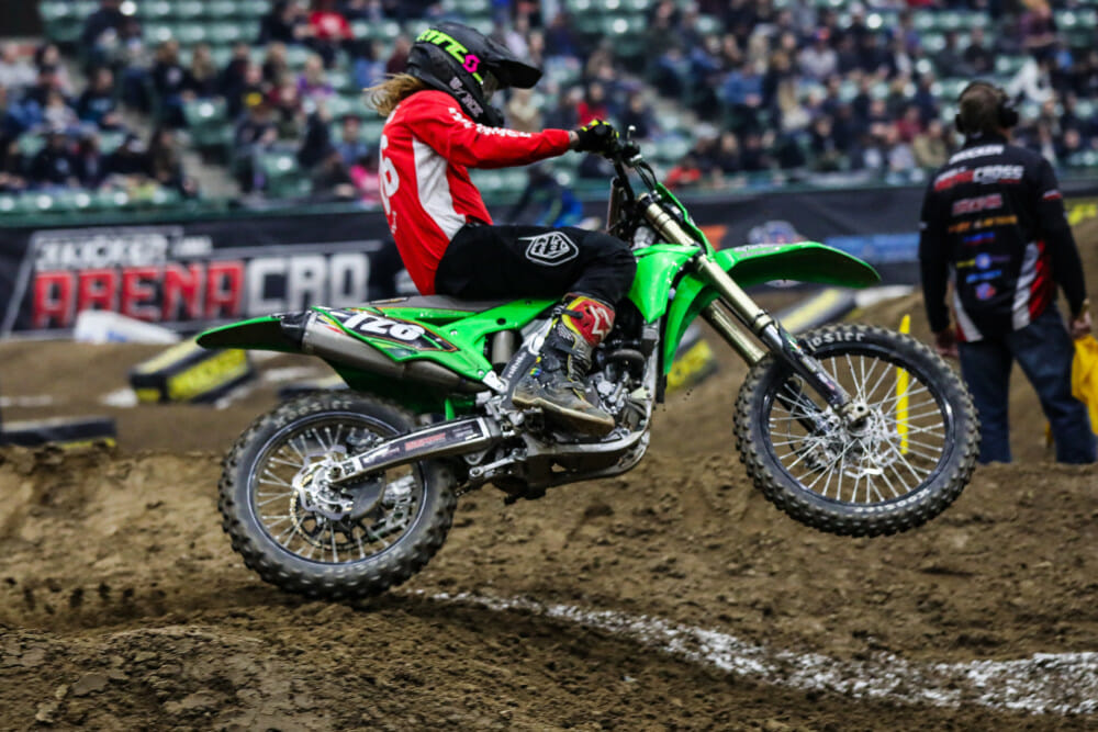 Gared Steinke racing on Friday at Arenacross in Reno, Nevada.