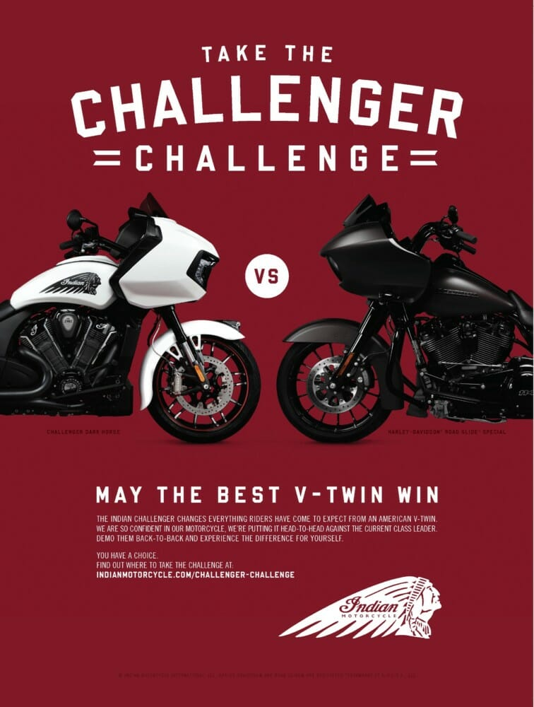 "Indian Motorcycle Issues ""Challenger Challenge"" Against Harley Davidson"