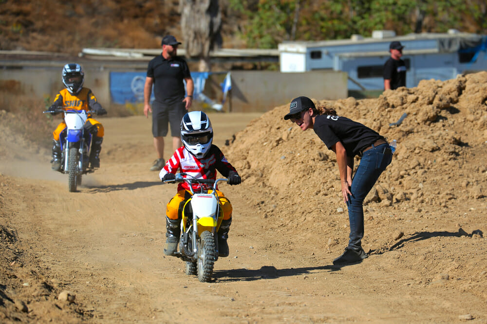 Malcolm Smith Kids Learn To Ride Day instructors help kids learn to ride.