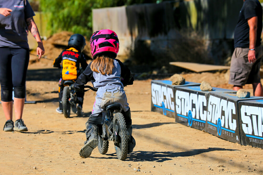 Stacyc offered demo bikes for the Malcolm Smith Kids Learn To Ride Day.