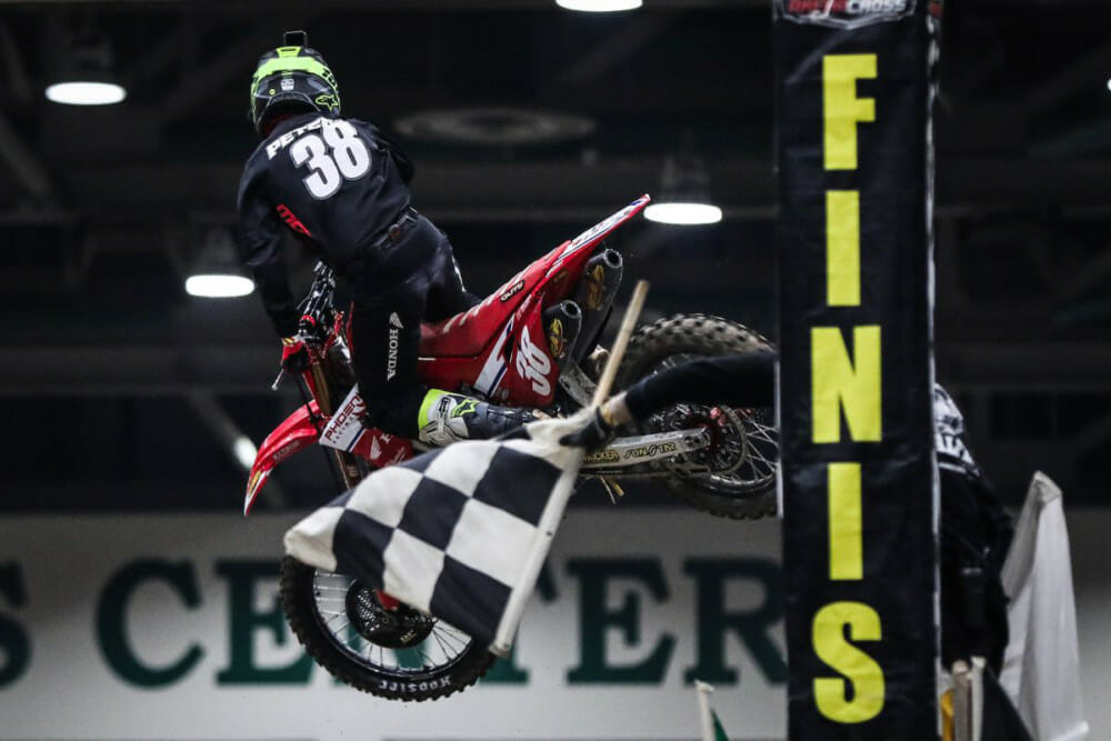 Phoenix Racing Honda Team Rider Kyle Peters wins the 450 Pro Sport Main in Arenacross on Friday in Reno, Nevada.