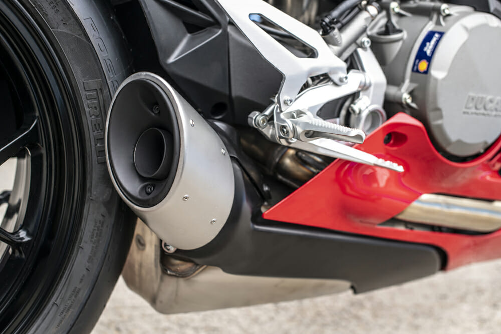The 2020 Ducati Panigale V2 has a reworked exhaust that allows for the single-sided swingarm to be shown off.