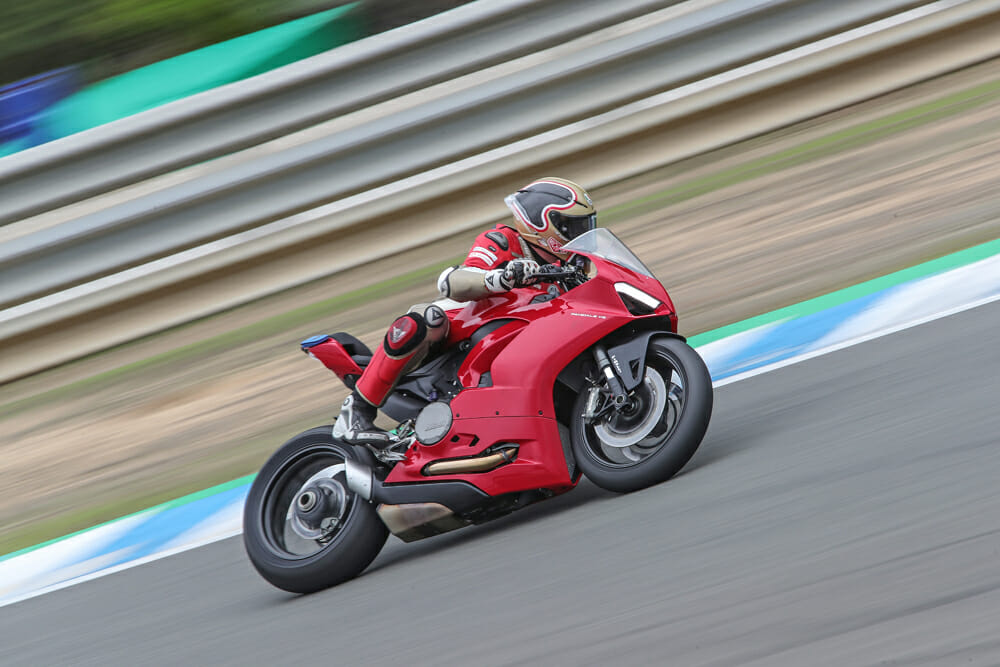 2020 Ducati Panigale V2 in turn four at Jerez.