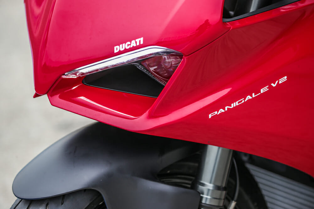 New, reworked lights on the 2020 Ducati Panigale V2 are a take-off from the V4.