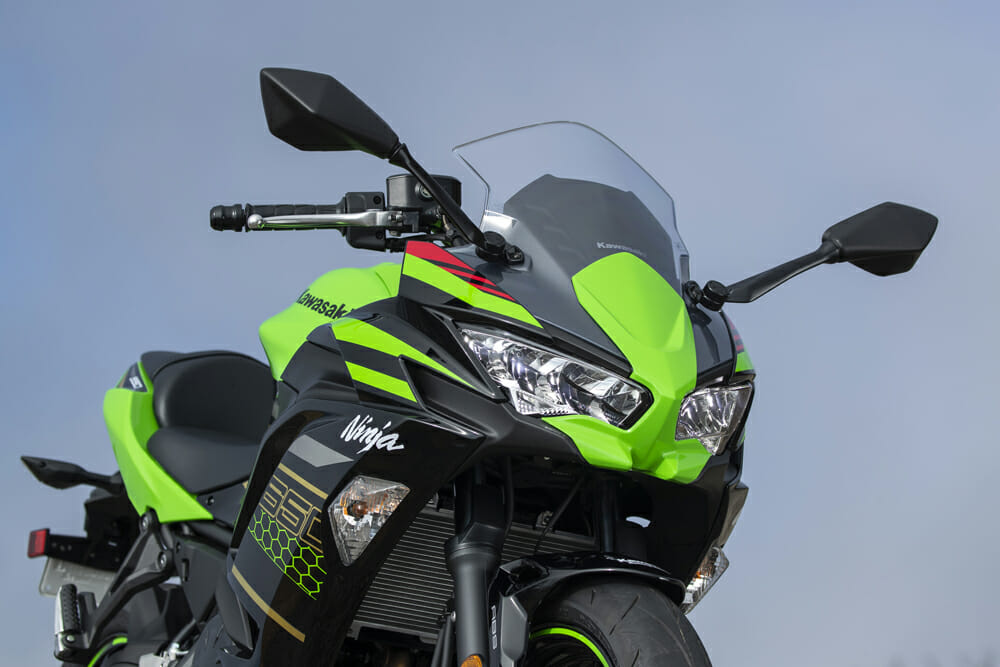 The reworked headlight and cowl on the 2020 Kawasaki Ninja 650 are obviously inspired by its ZX cousins.