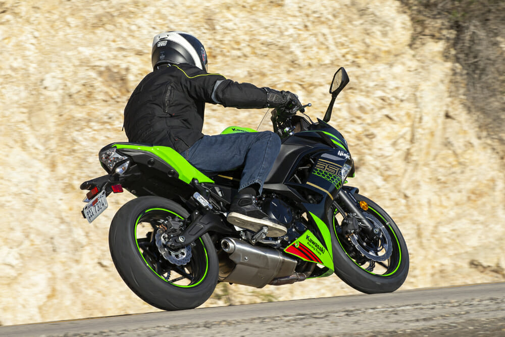 The 2020 Kawasaki Ninja 650 has under-the-engine mufflers.