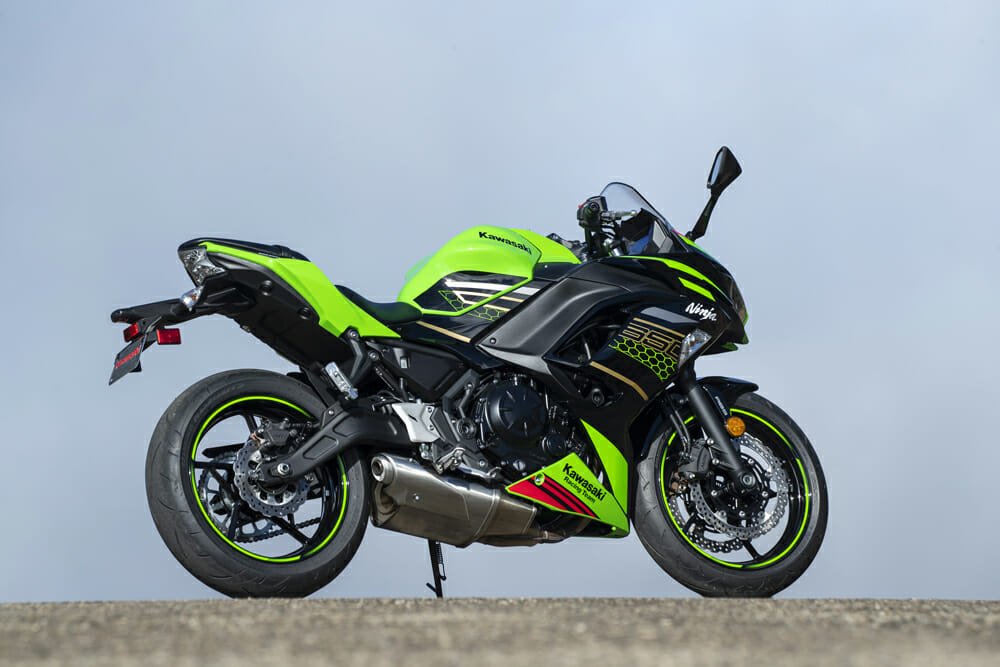 The 2020 Kawasaki Ninja 650 has a 31-inch seat height.