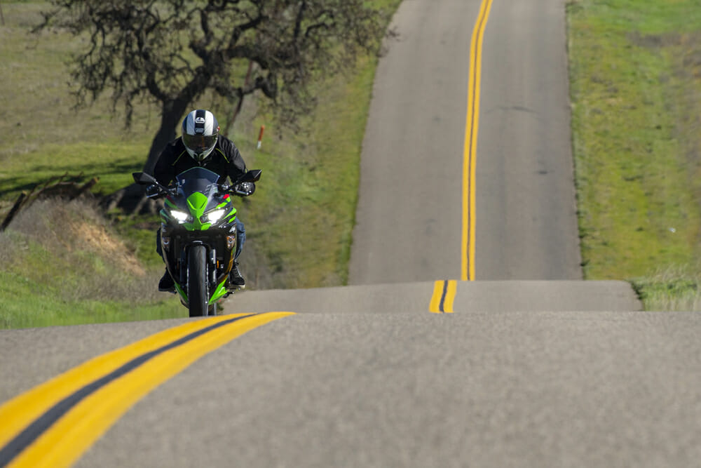 The 2020 Kawasaki Ninja 650 doubles as an excellent lightweight backroads touring bike.
