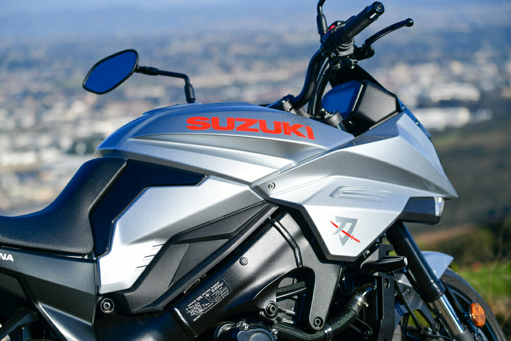 The 2020 Suzuki Katana has at 3.2-gallon fuel tank.