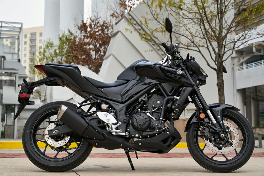 The 2020 Yamaha MT-03 is available in a blacked-out version.