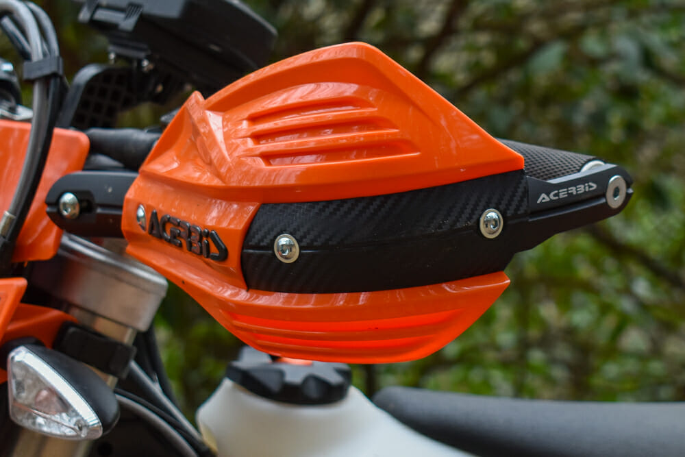 The Acerbis X-Factor handguards are easy to install and mount solidly to the handlebars.
