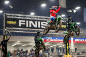 Privateer Gared Steinke crosses the finish line in the 250 Pro Main of the 2020 Amarillo Arenacross just ahead of Darian Sanayei (2nd) and Kyle Bitterman (3rd).