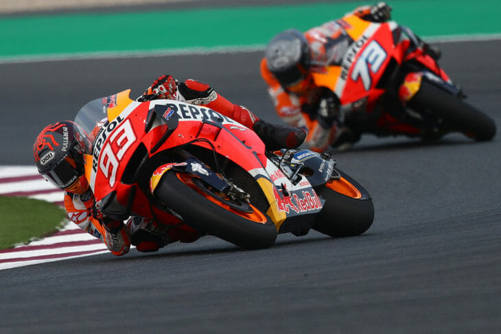 No one wants to see MotoGP races canceled, but Honda (and other teams) will use the downtime to its advantage, especially the healing Marc Marquez (93) and his rookie brother, Alex. Photo: Gold & Goose