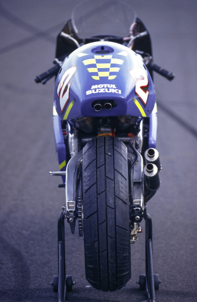 Rear view of Kenny Roberts Jr.'s 2000 Suzuki RGV500