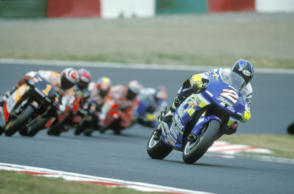 Kenny Roberts Jr. on the 2000 Suzuki RGV500 at the Japanese Grand Prix.