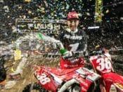 Phoenix Racing Honda Team rider Kyle Peters celebrating winning the 2020 AMA Arenacross National Championship title, Saturday night in Salt Lake City.