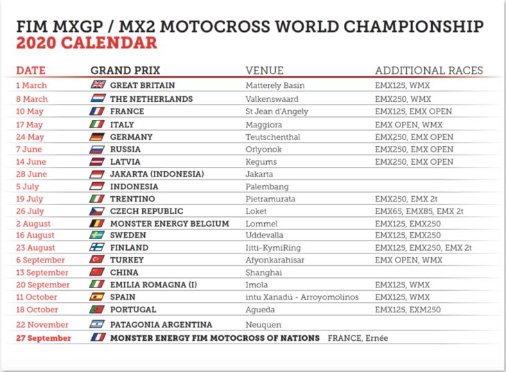 MXGP Calendar Update