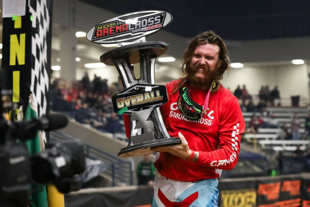 Privateer Gared Steinke celebrating his third place overall finish in the series and his successful night at the 2020 Amarillo Arenacross.